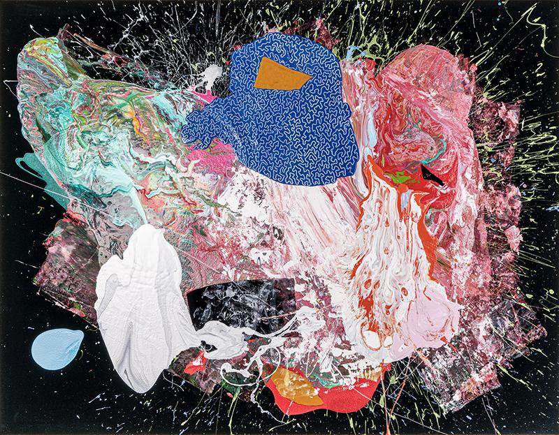 Primitivo, 2020, tecnica mista su velluto, 146 x 186 cm