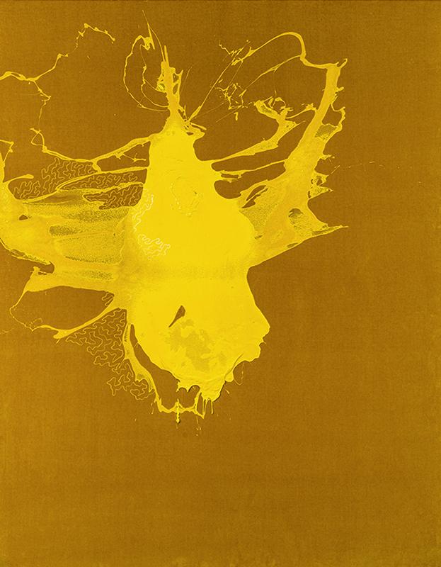 Giallo, 2021, tecnica mista su velluto, 186 x 146 cm