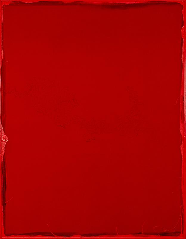 Rosso, 2021, tecnica mista su velluto, 186 x 146 cm