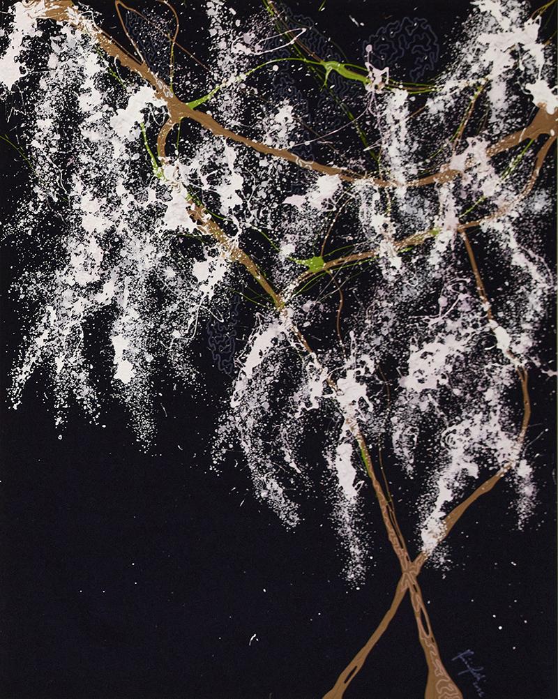 Glicine bianco, 2021, tecnica mista su velluto, 185,5 x 145 cm