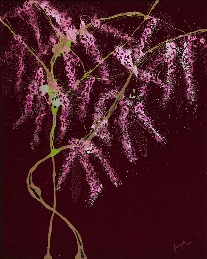 Glicine rosa, 2021, tecnica mista su velluto, 185,5 x 145 cm